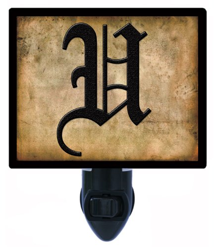 Night Light - Olde English Letter U - Rustic Background Led Night Light