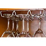 DecoBros Under Cabinet Wine Glass Stemware Rack Holder, Chrome