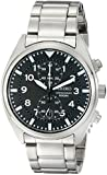 Gents Stainless Steel Seiko Chronograph Quartz/Battery Watch on Black Leather Strap, with Date.