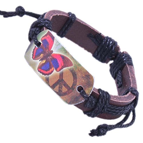 Modern Fantasy Butterfly Pattern Black Adjustable Length Leather Bracelet