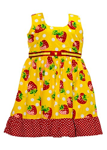 Red Mom's Girl Yellow And Red Strawberry Frock (Multicolor)