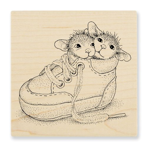 "Stampendous Wooden Handle Rubber Stamp, ""Shoe Babies"""