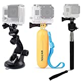 TEKCAM Action Camera Accessories Kits Bundle for Gopro Hero 6 5/AKASO EK7000/APEMAN/Campark/DBPOWER 1080P Waterproof Sports Action Camera Included Car Suction Cup Floating Mount and Selfie Stick