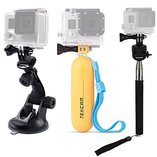 TEKCAM Action Camera Accessories Kits Bundle for Gopro Hero & Lightdow LD4000 LD6000/DBPOWER EX5000/AKASO Waterproof Sport Action Camera Included Car Suction Cup Floating Mount and Tripod