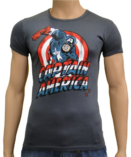 Captain America Logoshirt Vintage Slim fit T-SHIRT DARK GREY, XXL