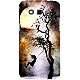 For Samsung Galaxy Grand 2 :: Samsung Galaxy Grand 2 G7105 :: Samsung Galaxy Grand 2 G7102 Girl Hamock Dangling ( Girl Hammock Dangling, Hammock Dangling, Moon, Black Tree, Brown Cloud ) Printed Designer Back Case Cover By FashionCops