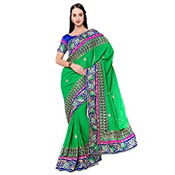 Suchi Fashion Green Banarasi Silk And Jacquard Embroidered Traditional Wedding Sarees