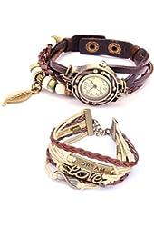 Belle (TM) Strap Weaved Beads Leather Bracelet Wrist Watch Dark Brown + Girls Charms Leather Weave + Bag