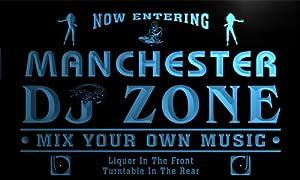 Enseigne Lumineuse qh2288-b Manchester DJ Disc Jockey Zone Turntable Music Neon Sign