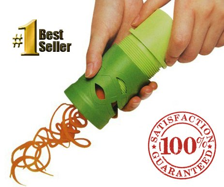 #1 Veggie Spiralizer - The VEGGIE TWIST - Raw Low Carb Noodle Maker - Spiral Zucchini, Squash, Carrots,Cucumbers, Julienne Strips- Produces 2 different Sized shreds , Steel Blade Veggetti Spaghetti Zoodle Slicer