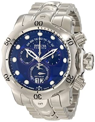 Invicta Men's 1538 Reserve Venom Chronograph Blue Dial Stainless Steel Watch from Invicta