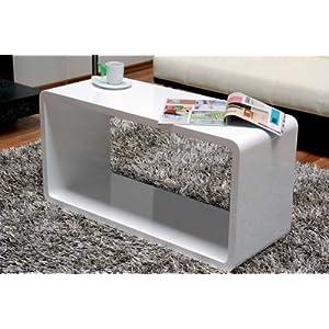 Couchtisch design couchtisch cube 90x45x35 hochglanz wei for Designer couchtisch amazon