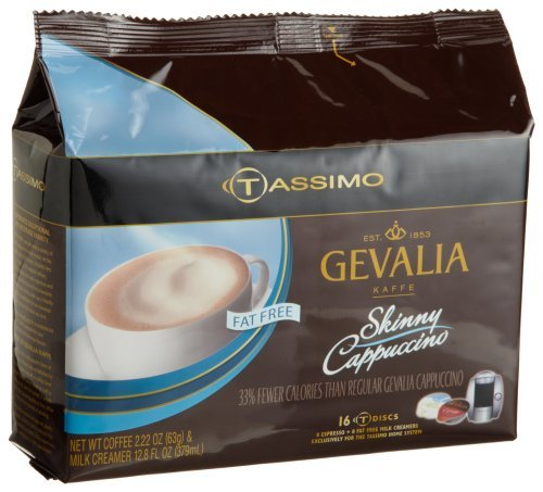 Gevalia Skinny Cappuccino, Fat Free (8 Servings), 16-Count T-Discs for Tassimo Coffeemakers (Pack of 2) (Tassimo Fat Free compare prices)