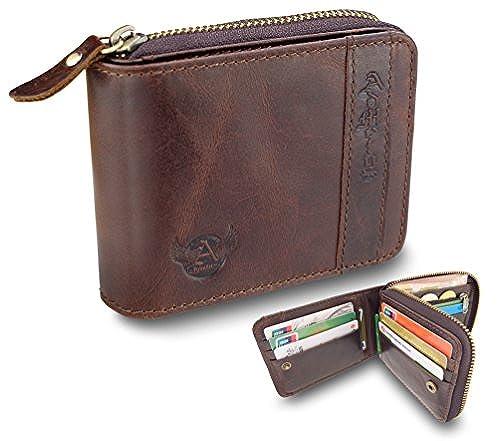 02. Admetus Men's Genuine Leather Bifold Zip-around Wallet with Elegant Gift Box