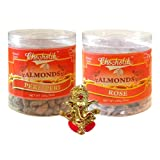 Chocholik Dry Fruits - Almonds Peri Peri & Almonds Rose With Ganesha Idol - Diwali Gifts - 2 Combo Pack