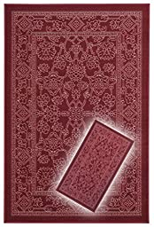Rubber Back Non-Slip 2-Piece Rug SET Fancy Egyptian Print Traditional Red Area Rug - Rana Collection Kitchen Hallway Entry Pet High Traffic Rug RAN2050-2PC