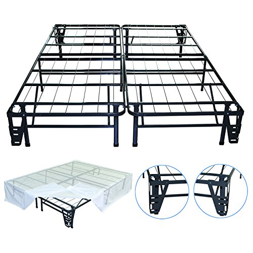 Night Therapy Platform Metal Bed Frame/Foundation Set(SmartBase + Metal Brackets for Headboard & Footboard + Bed Skirt - Full) - No Box Spring needed