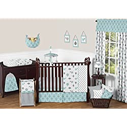 Turquoise Blue and Gray Earth and Sky Birds Nature Girl or Boy Baby Bedding 11 Piece Crib Set without bumper