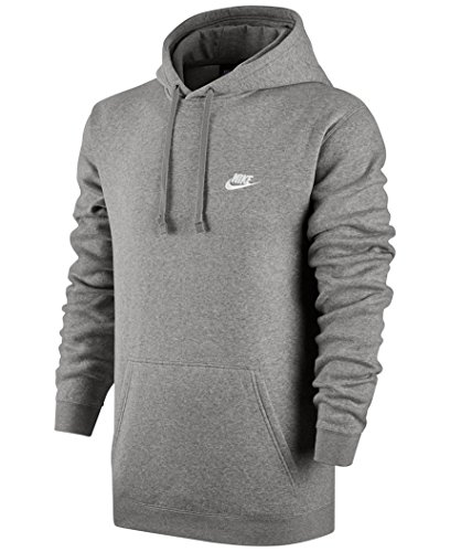 Nike Mens Sportswear Pull Over Club Hooded Sweatshirt Grey/White 804346-063 Size Large