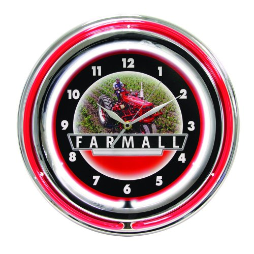 International Harvester McCormick Farmall 15 Inch Double Neon Wall Clock