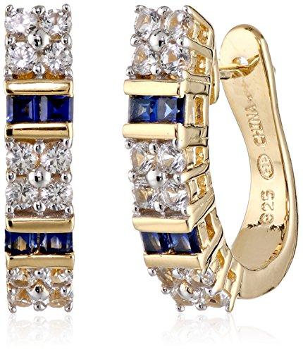 18k-Yellow-Gold-Over-Sterling-Silver-Created-Gemstone-Hoop-Earrings