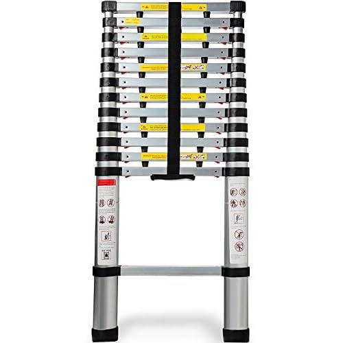 OxGord Aluminum Telescopic 12.5 Feet Heavy Duty Extendable Work, Light Weight Multi-Purpose Ladder - Max 330 lbs. Capacity