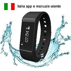 Amytech I5 Plus IP67 Impermeabile Braccialetto Wireless Monitoraggio Sonno Attività Fisica Pedometri Activity Tracker,Nero