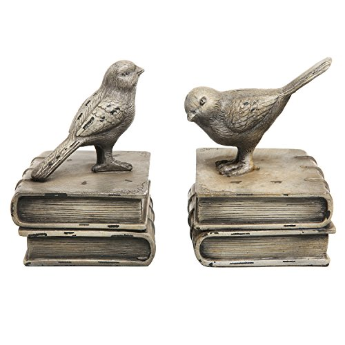 Vintage Style Decorative Birds & Books Design Ceramic Bookshelf Bookends / Paper Weights - MyGift Home