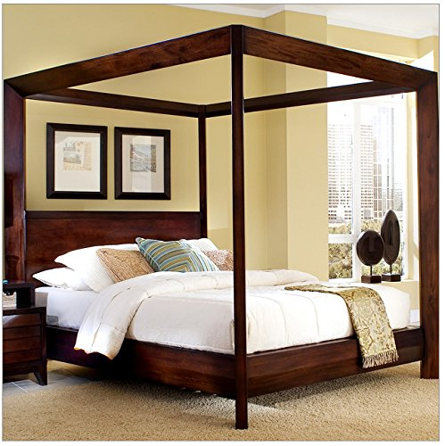 Video Review Beautiful Queen Canopy Bed Made Of Wood In
