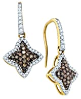 Brown Diamond Star Earrings 0.64Ctw 10k Gold
