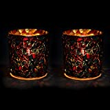 EarthenMetal Handcrafted Blue & Red Glass Crystal Decorated Tealight Holder (Candle Light Holder) - Set Of 2