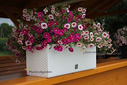 Fioriera vaso per piante con sistema d'irrigazione RATO CASE simil rattan 17Lt colore: bianco
