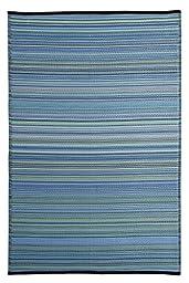 Stripe Indoor Outdoor Reversible Area Rug Blue Multi (5\' x 8\' Feet)