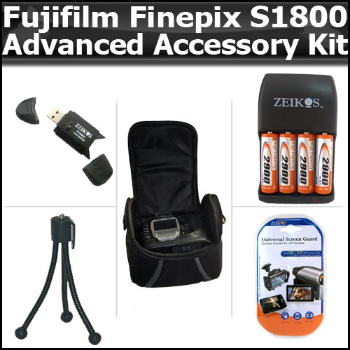 Advanced Accessory Kit For Fujifilm FinePix S1800 12.2 MP Digital Camera Includes USB 2.0 High Speed Card Reader + 4AA (2900 mAH) Rechargeable NIMH Batteries And Charger + Deluxe Carrying Case + LCD Screen Protectors + More