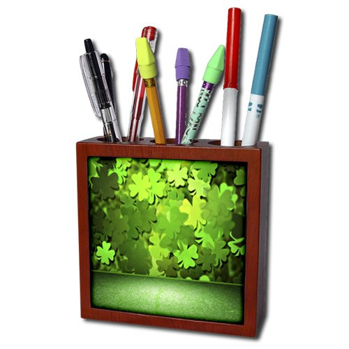 Anne Marie Baugh - Room Effects - Green Floor With Four Leaf Clover Wall Room Effect - 5 inch tile pen holder (ph_213890_1)