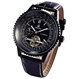 ORKINA Classic Black Tourbillion Automatic Mechanical Steampunk Mens Sport Watch ORK168