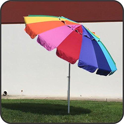 Giant 8 Foot Rainbow Beach Umbrella Heavy Duty Design