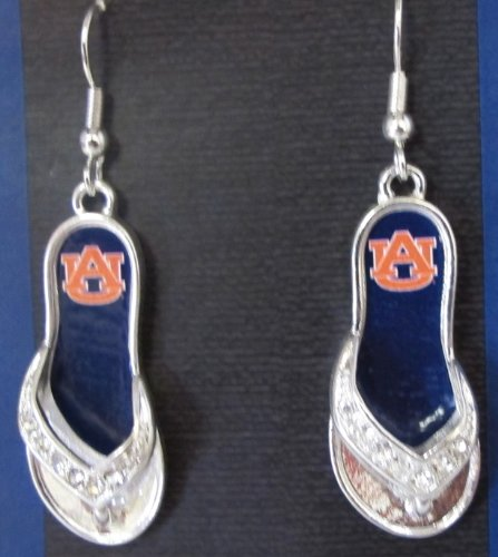 NCAA Officially Licensed Auburn Flip Flop Rhinestone Studded Earrings.Thong is covered in Rhinestones with Auburn Tigers Football Logo.in the Center.They Sparkle!!Super Cute & Unusual!! at Amazon.com