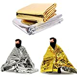 "Goeasi Outdoor Sports Emergency Thermal Blankets Golden Silver Dual-use 82"" x 55"" (6 Pack)"