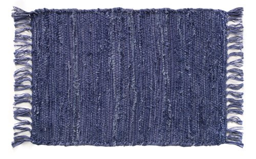 Extra Weave USA Handwoven Cotton Denim Rug, 2' X 3'