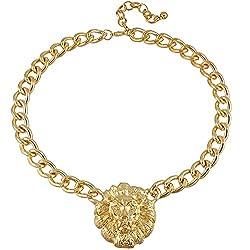 Sorellaz Unisex Golden Lions Head Pendant Necklace with Chain