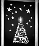 Star Tree with Stars Window Cling Stickers - Seasonal Christmas Window Decorations by Stickers4