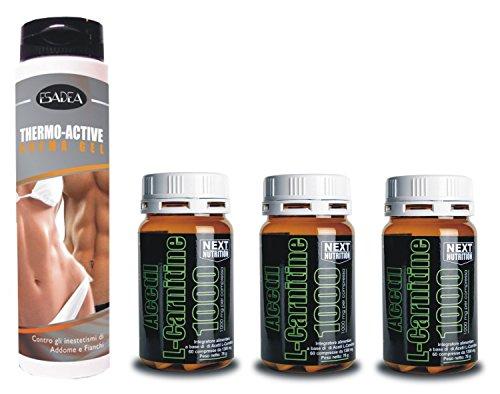 Kit Dimagrante : + 3 confezione Acetil L- Carnitina 60 compresse gr 78, + 1 confezione Thermo Active 200 ml Crema termogenica Addominali, termogenico, utile per dimagrire, perdere peso, bruciare grassi a scopo energetico