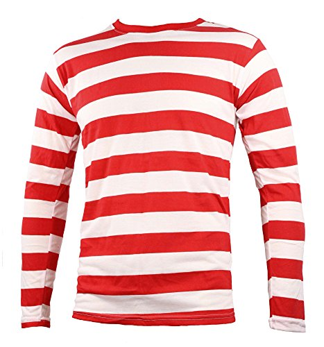 Adult Men's Striped Long Sleeve Shirt Red White (Large)