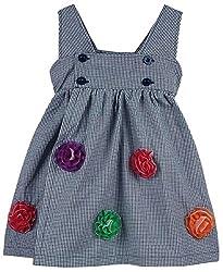 Oye Girls Shoulder Strap Dress With Applique - Navy (1-2 Y)