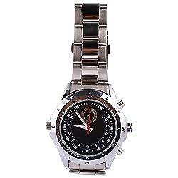 Sharp Plus 4 GB Waterproof Mini HD Steel Wrist Watch with Spy Camera and Hidden Video Camcorder DVR (Silver)