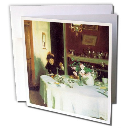 3dRose The Breakfast Table by John Singer Sargent - Greeting Cards, 6 x 6 inches, set of 6 (gc_127362_1) (Note Cards John Singer Sargent compare prices)