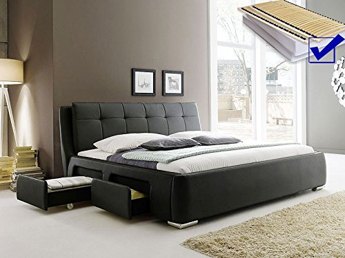 Polsterbett schwarz Bett 160×200 + Lattenrost + Matratze + Schubkasten Doppelbett Designerbett Alvaro günstig kaufen
