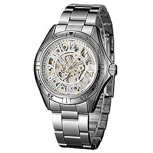 IK Colouring Dress Skeleton Silver White Mechanical Hand-wind Wrist Watch