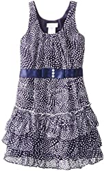 Bonnie Jean Big Girls' Sleeveless Printed Dot Chiffon with Tiered Skirt